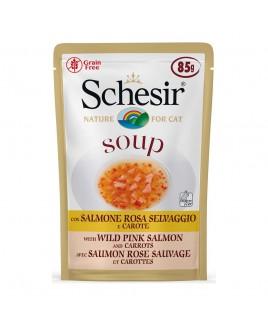 Alimento gatto Schesir cat Soup Salmone rosa 85g