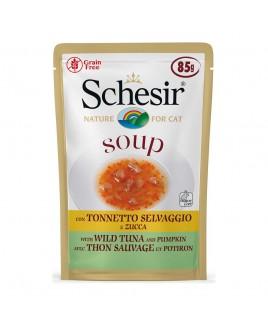 Alimento gatto Schesir cat Soup Tonnetto e zucca 85g