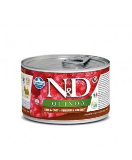 Alimento umido per cani Farmina Natural e Delicius Quinoa Adult Mini Skin e Coat Cervo e noce di cocco lattina 140g