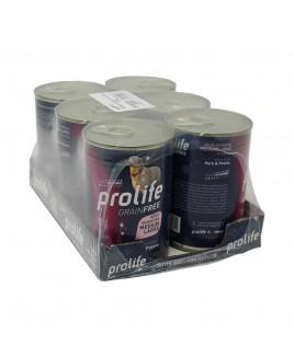 6 LATTINE Alimento umido per cani Prolife Adult Sensitive Grain Free Medium Large Maiale e Patate lattina da 400g