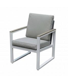 Poltrona salotto Positano alluminio bianco polywood 63X65X78 cm Giardinia